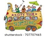 open top double decker bus full ... | Shutterstock .eps vector #707707465