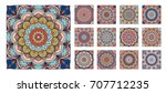 flower pattern tiles set.... | Shutterstock .eps vector #707712235