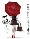 cute girl with red umbrella.... | Shutterstock .eps vector #707712391