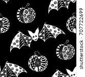 black and white halloween... | Shutterstock .eps vector #707722699