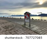 sunrise in port in harstad ... | Shutterstock . vector #707727085