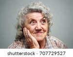 smile and thinking grandmother...   Shutterstock . vector #707729527