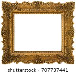 empty gilded golden picture... | Shutterstock . vector #707737441