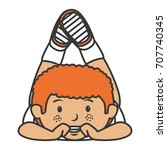 cute little boy lying character | Shutterstock .eps vector #707740345