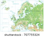 europe physical map isolated on ... | Shutterstock .eps vector #707755324