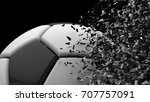 black white leather soccer ball ... | Shutterstock . vector #707757091