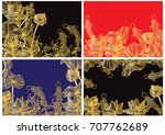 vector gold pattern with fish... | Shutterstock .eps vector #707762689