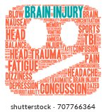 brain injury word cloud on a... | Shutterstock .eps vector #707766364