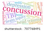 concussion word cloud on a...   Shutterstock .eps vector #707768491