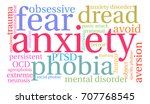 anxiety word cloud on a white...   Shutterstock .eps vector #707768545