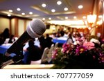 microphone over the abstract... | Shutterstock . vector #707777059