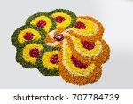 flower rangoli for diwali or... | Shutterstock . vector #707784739