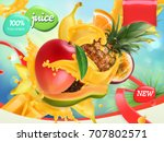 mix fruits. splash of juice.... | Shutterstock .eps vector #707802571