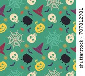 halloween seamless pattern.... | Shutterstock . vector #707812981