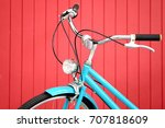 retro bicycle in front of the... | Shutterstock . vector #707818609