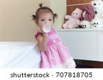 cute child 1 year 2 months... | Shutterstock . vector #707818705