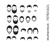 hipster vector set  hair and... | Shutterstock .eps vector #707821621