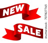 new and sale text on red ribbons | Shutterstock .eps vector #707827765