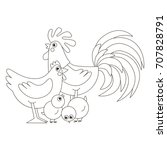 chicken family  father  mother... | Shutterstock .eps vector #707828791