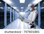 3d rendering humanoid robot... | Shutterstock . vector #707831881