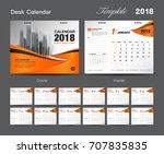 set desk calendar 2018 template ... | Shutterstock .eps vector #707835835