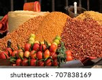 colorful food displayed in an... | Shutterstock . vector #707838169