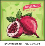 eco food label. hand drawn...   Shutterstock .eps vector #707839195