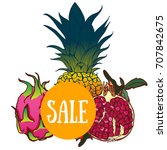 summer sale  tropical fruit ... | Shutterstock .eps vector #707842675