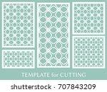 decorative panels set for laser ... | Shutterstock .eps vector #707843209