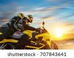 motorbikers on sports motorbike ... | Shutterstock . vector #707843641