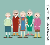 group of older women standing... | Shutterstock .eps vector #707846971