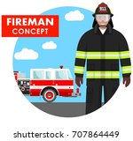 fireman concept. detailed... | Shutterstock .eps vector #707864449