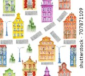 watercolor town objects pattern.... | Shutterstock . vector #707871109
