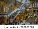 Small photo of London, United Kingdom. Circa August 2017. Blue whale skeleton in the main hall of the Natural History Museum of London.