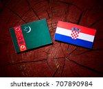 turkmenistan flag with croatian ... | Shutterstock . vector #707890984