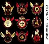 collection of vector heraldic... | Shutterstock .eps vector #707895415