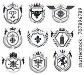 luxury heraldic vectors emblem... | Shutterstock .eps vector #707896789