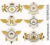 heraldic vector signs decorated ... | Shutterstock .eps vector #707899255