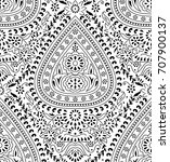 seamless paisley black and... | Shutterstock .eps vector #707900137