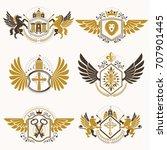 heraldic vector signs decorated ... | Shutterstock .eps vector #707901445