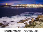 night view tower of hercules... | Shutterstock . vector #707902201