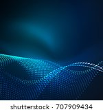 wave particles background   3d ... | Shutterstock . vector #707909434