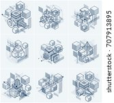 isometric abstract backgrounds... | Shutterstock .eps vector #707913895