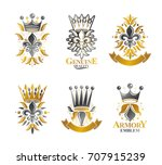 royal symbols lily flowers ... | Shutterstock .eps vector #707915239