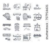 set of thin line icons freight... | Shutterstock .eps vector #707916631