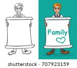 illustration of a man holding a ...   Shutterstock .eps vector #707923159