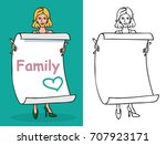 illustration of a woman holding ... | Shutterstock .eps vector #707923171