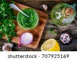 ingredients for chimichurri... | Shutterstock . vector #707925169
