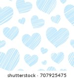 Blue Heart Seamless Background...