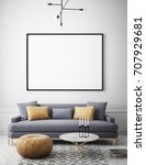 mock up poster frame in hipster ... | Shutterstock . vector #707929681